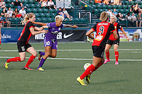 Rochester, NY - Saturday June 11, 2016: Orlando Pride forward Lianne Sanderson (10), Western New York Flash midfielder Samantha Mewis (5) during a regular season National Women's Soccer League (NWSL) match between the Western New York Flash and the Orlando Pride at Rochester Rhinos Stadium.