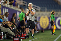 Orlando, FL - Thursday June 23, 2016: Tom Sermanni during a regular season National Women's Soccer League (NWSL) match between the Orlando Pride and the Houston Dash at Camping World Stadium.