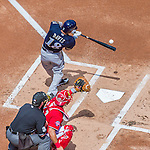 23 August 2015: Milwaukee Brewers outfielder Khris Davis in action against the Washington Nationals at Nationals Park in Washington, DC. The Nationals defeated the Brewers 9-5 in the third game of their 3-game weekend series. Mandatory Credit: Ed Wolfstein Photo *** RAW (NEF) Image File Available ***