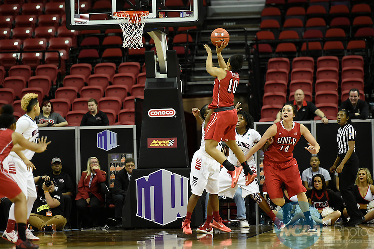 10 MAR 2016: University of Nevada Las Vegas takes on Fresno State University during the 2016 Mountain West Conference Women's Basketball Championship at the Thomas & Mack Center in Las Vegas, NV. Steve Nowland/NCAA Photos
