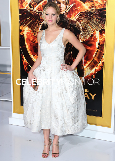 LOS ANGELES, CA, USA - NOVEMBER 17: Actress Jennifer Lawrence arrives at the Los Angeles Premiere Of Lionsgate's 'The Hunger Games: Mockingjay, Part 1' held at Nokia Theatre L.A. Live on November 17, 2014 in Los Angeles, California, United States. (Photo by Xavier Collin/Celebrity Monitor)
