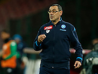 Napoli's coach  Maurizio Sarri during the  italian serie a soccer match,between SSC Napoli and Sassuolo    at  the San  Paolo   stadium in Naples  Italy ,Napoli  wins  3-1