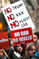 Cartelli 'no ban no walls'  and 'no Trump, no KKK, no fascist USA' banners<br /> Roma 02-02-2017. Ambasciata Americana. Manifestazione per protestare contro il 'muslim ban' attuato dal neo Presidente americano.<br /> Rome February 2nd 2017. American Embassy. Demonstration against 'muslim ban' of the newly elected American President.<br /> Foto Samantha Zucchi Insidefoto
