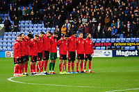 Lincoln City players take part in the minutes silence before kick off<br /> <br /> Photographer Andrew Vaughan/CameraSport<br /> <br /> The EFL Sky Bet League One - Shrewsbury Town v Lincoln City - Saturday 11th January 2020 - New Meadow - Shrewsbury<br /> <br /> World Copyright © 2020 CameraSport. All rights reserved. 43 Linden Ave. Countesthorpe. Leicester. England. LE8 5PG - Tel: +44 (0) 116 277 4147 - admin@camerasport.com - www.camerasport.com