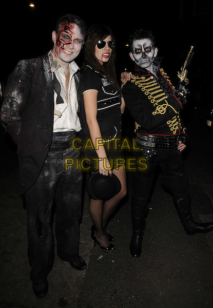 Stefan Booth, guest & Richard Austin Rees .attended the Bloodlust Ball, One Mayfair, North Audley St., London, UK, .28th October 2011..full length halloween hallowe'en  costume make-up dressed-up blood fake black scary  dress jacket suit .CAP/CAN.©Can Nguyen/Capital Pictures.