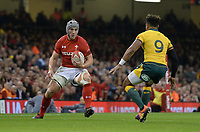 Wales' Jonathan Davies takes on Australia's Will Genia<br /> <br /> Photographer Ian Cook/CameraSport<br /> <br /> Under Armour Series Autumn Internationals - Wales v Australia - Saturday 10th November 2018 - Principality Stadium - Cardiff<br /> <br /> World Copyright © 2018 CameraSport. All rights reserved. 43 Linden Ave. Countesthorpe. Leicester. England. LE8 5PG - Tel: +44 (0) 116 277 4147 - admin@camerasport.com - www.camerasport.com