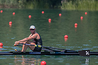 """Lucerne, SWITZERLAND, 13th July 2018, Friday NZL1 Robbie MANSON, making his way to the """"start pontoon"""",  at the , FISA World Cup series, No.3, Lake Rotsee, Lucerne, © Peter SPURRIER,"""