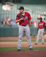 Sacramento River Cats starting pitcher Michael Roth (38) looks for the sign against the Salt Lake Bees in Pacific Coast League action at Smith's Ballpark on April 13, 2017 in Salt Lake City, Utah. Salt Lake defeated Sacramento 4-3. (Stephen Smith/Four Seam Images)