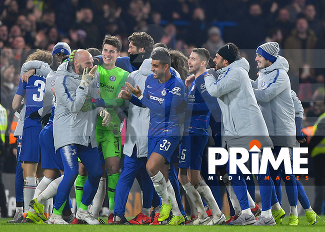 The Chelsea players and staff celebrate during the Carabao Cup Semi-Final 2nd leg match between Chelsea and Tottenham Hotspur at Stamford Bridge, London, England on 24 January 2019. Photo by Vince  Mignott / PRiME Media Images.