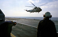 "The Italian aircraft carrier  ""G. Garibaldi""..Antisubmarine helicopters SH-3D ..flight deck staff"