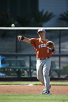 Tres Barrera (1) of the Texas Longhorns makes a throw during a game against the UCLA Bruins at Jackie Robinson Stadium on March 12, 2016 in Los Angeles, California. UCLA defeated Texas, 5-4. (Larry Goren/Four Seam Images)