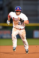 Buffalo Bisons designated hitter Brett Carroll (23) runs the bases during a game against the Gwinnett Braves on May 13, 2014 at Coca-Cola Field in Buffalo, New  York.  Gwinnett defeated Buffalo 3-2.  (Mike Janes/Four Seam Images)