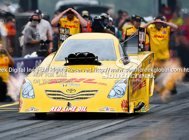 Jeff Arend #170, driver for DHL Toyota Solara's Funny Car makes a run at the O'Reilly Fall Nationals held at the Texas Motorplex in  Ennis, Texas.