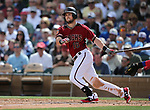 Diamondbacks' Chris Owings bats in a spring training game against the Chicago Cubs in Phoenix, AZ, on Thursday, March 23, 2017.<br /> Photo by Cathleen Allison/Nevada Photo Source