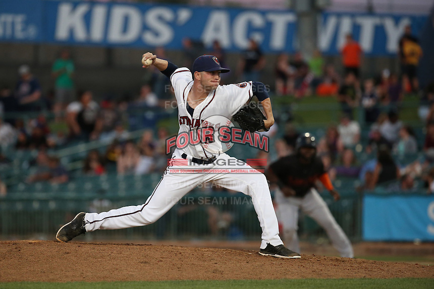 Jacob Dorris (5) of the Lancaster JetHawks pitches against the Bakersfield Blaze at The Hanger on June 18, 2016 in Lancaster, California. Bakersfield defeated Lancaster, 10-7. (Larry Goren/Four Seam Images)