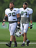 Wesley Johnson #76, left, and Eric Tomlinson #83 head off the field after a day of New York Jets Training Camp at the Atlantic Health Jets Training Center in Florham Park, NJ on Wednesday, Aug. 9, 2017.