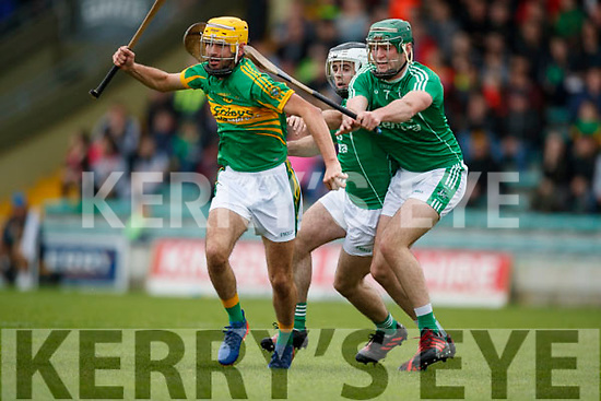 Jack Goulding and Eoin Ross Ballyduff in action against John Buckley Lixnaw in the Senior County Hurling Final in Austin Stack Park on Sunday
