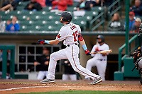 Rochester Red Wings Jake Cave (15) at bat during an International League game against the Charlotte Knights on June 16, 2019 at Frontier Field in Rochester, New York.  Rochester defeated Charlotte 3-2 in the second game of a doubleheader.  (Mike Janes/Four Seam Images)
