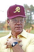 Washington Redskins head coach Joe Gibbs speaks to the media at Redskins Park in Herndon, Virginia on October 10, 1984.<br /> Credit: Arnie Sachs / CNP
