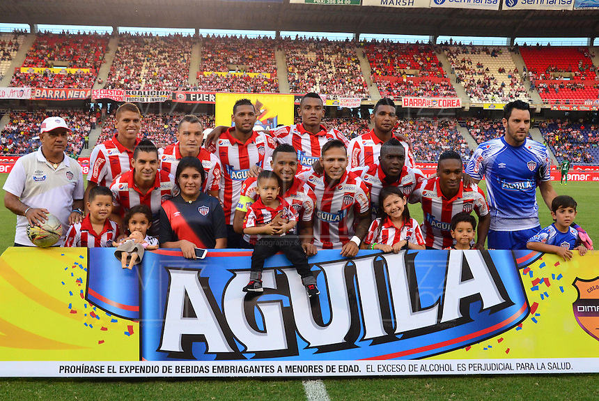BARRANQUILLA  -COLOMBIA, 25-MARZO-2015. Formacion del Atletico Junior  ante Patriotas de Boyaca durante partido por la fecha 1 de la Liga  çguila I 2015 jugado en el estadio Metropolitano  de la ciudad de Barranquilla./ Team of Atletico Junior  against  Patriotas during the match for the first date of the Liga  Aguila I 2015 played at Metropolitano  stadium in Barranquilla city<br />  . Photo / VizzorImage / Alfonso Cervantes / Stringer