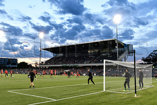 24th October 2017, Campbelltown Stadium, Campbelltown, Australia; Westfield FFA Cup Semi Final, Western Sydney Wanderers FC versus Adelaide United FC; players warm up under a beautiful sunset;