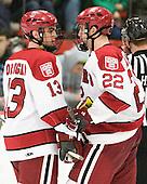 Tommy O'Regan (Harvard - 13), David Valek (Harvard - 22) - The Harvard University Crimson defeated the visiting Clarkson University Golden Knights 3-2 on Harvard's senior night on Saturday, February 25, 2012, at Bright Hockey Center in Cambridge, Massachusetts.