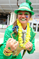 January 7, 2013: Chelsea a Notre Dame Irish fan poses for a picture before the start of the Discover BCS National Championship game between the Alabama Crimson Tide and the Notre Dame Fighting Irish at Sun Life Stadium in Miami Gardens, Fl