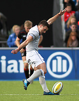 George Ford of Bath Rugby scores a conversion during the Aviva Premiership match between Saracens and Bath Rugby at Allianz Park, Hendon, England on 26 March 2017. Photo by Stewart  Wright  / PRiME Media Images.