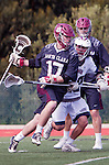 Manhattan Beach, CA 02-11-17 - Jack Counihan (Santa Clara #22), Bo Kendall (Santa Clara #17) and Ren-Taylor Chang (Loyola Marymount #20) in action during the MCLA non-conference game between LMU (SLC) and Santa Clara (WCLL).  Santa Clara defeated LMU 18-3.