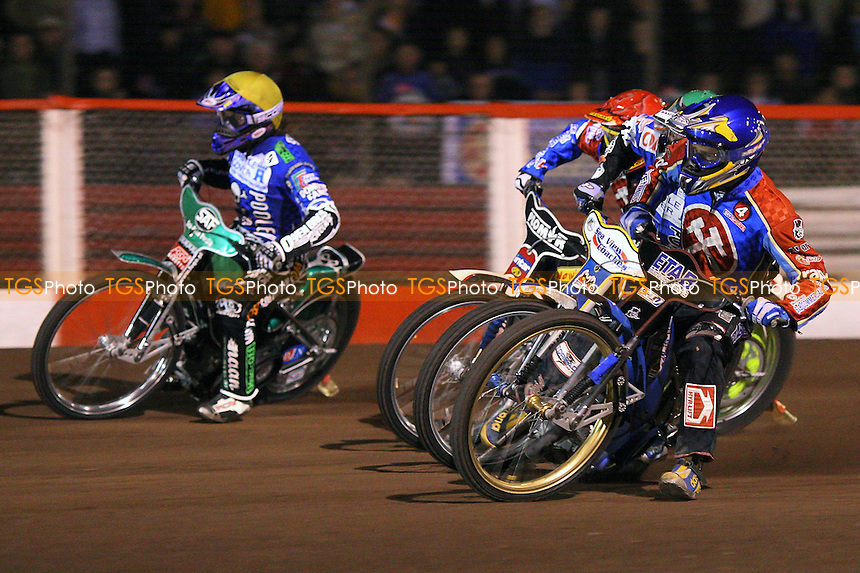 Heat 3: Adam Skornicki (yellow), Bjarne Pedersen (green), Jonas Davidsson (blue) and Tomasz Jedrzejak - Lakeside Hammers vs Poole Pirates - Sky Sports Elite League Play-Off Grand Final, First Leg at Arena Essex, Purfleet - 06/10/08 - MANDATORY CREDIT: Gavin Ellis/TGSPHOTO - Self billing applies where appropriate - 0845 094 6026 - contact@tgsphoto.co.uk - NO UNPAID USE.