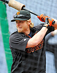 1 May 2011: San Francisco Giants infielder Mike Fontenot awaits his turn in the batting cage prior to a game against the Washington Nationals at Nationals Park in Washington, District of Columbia. The Nationals defeated the Giants 5-2. Mandatory Credit: Ed Wolfstein Photo