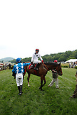 USA, Tennessee, Nashville, Iroquois Steeplechase, jockey Brian Crowley is congratulated by another jockey after his win