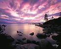 Lake Tahoe Scenic Sunset Rocky Shoreline