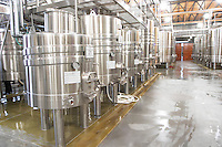 View over the winery, stainless steel fermentation tanks. Bodega NQN Winery, Vinedos de la Patagonia, Neuquen, Patagonia, Argentina, South America