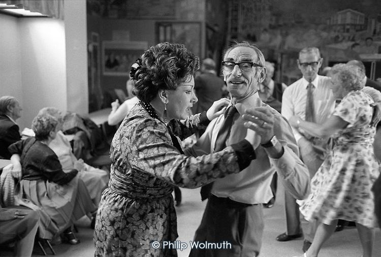 Tea dance at the Hampden Community Centre, Somerstown, Kings Cross, London, 1990.