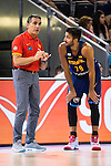 Spain's basketball coach Sergio Scariolo talking with Ricky Rubio during the  match of the preparation for the Rio Olympic Game at Madrid Arena. July 23, 2016. (ALTERPHOTOS/BorjaB.Hojas)