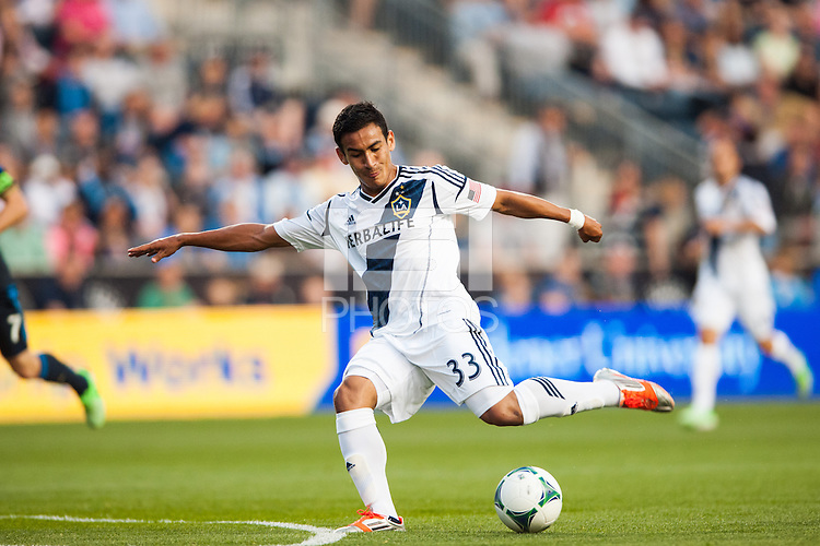 Jose Villarreal (33) of the Los Angeles Galaxy. The Los Angeles Galaxy defeated the Philadelphia Union 4-1 during a Major League Soccer (MLS) match at PPL Park in Chester, PA, on May 15, 2013.