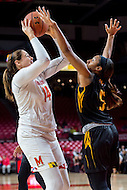 College Park, MD - DEC 6, 2016: Maryland Terrapins center Jenna Staiti (14) is defended by Towson Tigers forward Jordyn Smith (5) in the paint during game between Towson and Maryland at XFINITY Center in College Park, MD. The Terps defeated the Tigers 97-63. (Photo by Phil Peters/Media Images International)