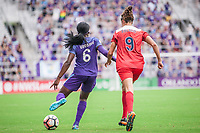 Orlando, FL - Saturday April 22, 2017: Chioma Ubogagu, Havana Solaun during a regular season National Women's Soccer League (NWSL) match between the Orlando Pride and the Washington Spirit at Orlando City Stadium.