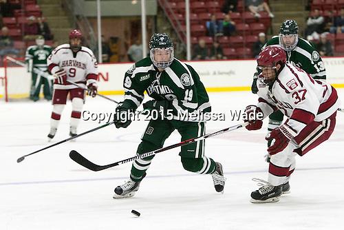 John Ernsting (Dartmouth - 19), Desmond Bergin (Harvard - 37) - The Harvard University Crimson defeated the Dartmouth College Big Green 5-2 to sweep their weekend series on Sunday, November 1, 2015, at Bright-Landry Hockey Center in Boston, Massachusetts.