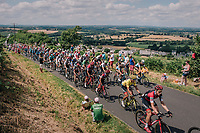 peloton with yellow jersey / GC leader Greg Van Avermaet (BEL/BMC) up the 3rd climb of the day<br /> <br /> Stage 5: Lorient &gt; Quimper (203km)<br /> <br /> 105th Tour de France 2018<br /> &copy;kramon
