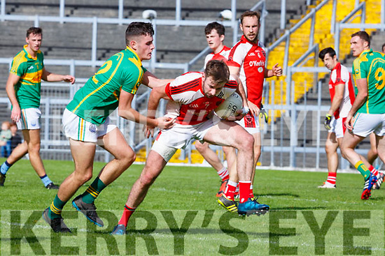 Graham O'Sullivan South Kerry tackles Brendan O'Keeffe Rathmore during their SFC clash in Fitzgerald Stadium on Sunday