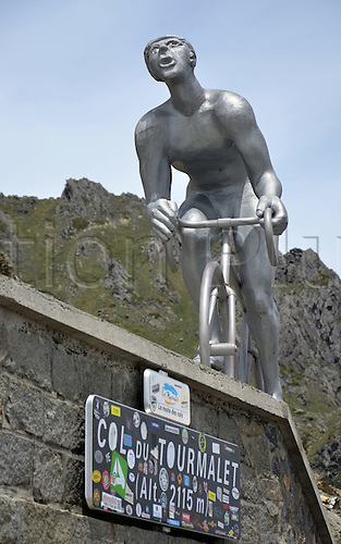 05.06.2012. Pyrenees Mountains, France.  A monument in honor of Octave Lapize on Col du Tourmalet (2115m) in the French Pyrenees. Octave Lapize was the first cyclist to cross the pass, which was part of the Tour de France for the first time, in 1910.
