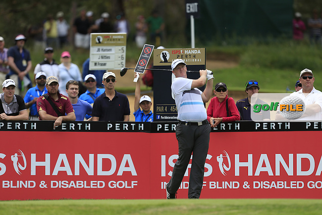 Marcus Fraser (AUS) on the 6th tee during Round 3 of the ISPS HANDA Perth International at the Lake Karrinyup Country Club on Saturday 25th October 2014.<br /> Picture:  Thos Caffrey / www.golffile.ie