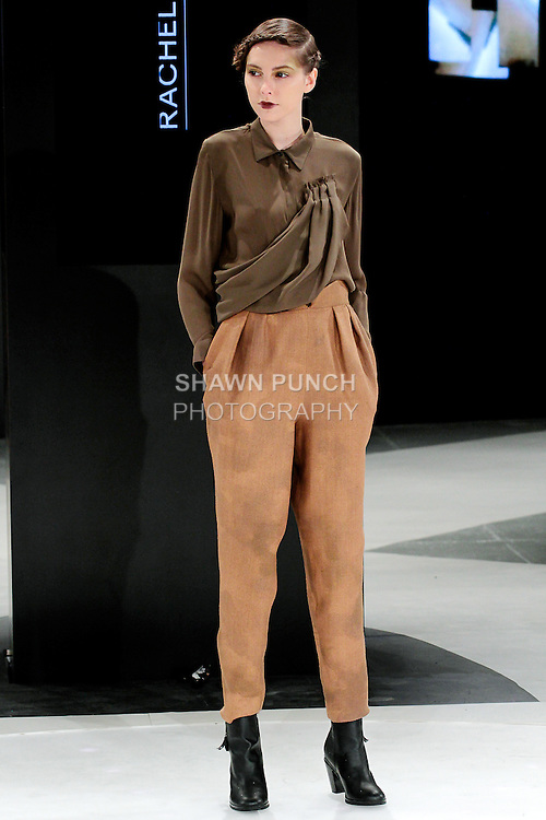 Model walks runway in an outfit by Rachel Duncan, during the 2013 Pratt Institute Fashion Show, on April 25, 2013.