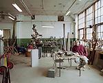The artist, Allen Young, in his studio, Detroit, Michigan, February, 19, 2009