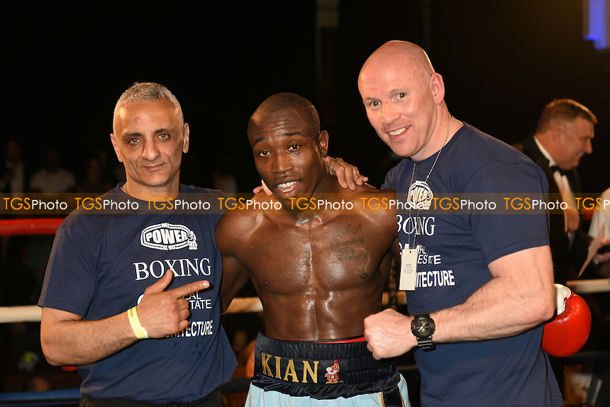 Kian Thomas (light blue shorts) defeats Danny Dontchev - Boxing at the Camden Centre, Bethnal Green, London - 17/04/15 - MANDATORY CREDIT: Philip Sharkey/TGSPHOTO - Self billing applies where appropriate - contact@tgsphoto.co.uk - NO UNPAID USE