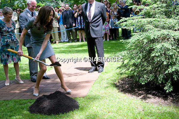 "WILLIAM & KATE TREE PLANTING.throw spades of earth on to a 2-year-old tree dedicated to their visit, inthe garden of the Governor General's residence, Rideau Hall, Ottawa_01/07/2011.Mandatory Credit Photo: ©DIAS-DIASIMAGES..**ALL FEES PAYABLE TO: ""NEWSPIX INTERNATIONAL""**..IMMEDIATE CONFIRMATION OF USAGE REQUIRED:.DiasImages, 31a Chinnery Hill, Bishop's Stortford, ENGLAND CM23 3PS.Tel:+441279 324672  ; Fax: +441279656877.Mobile:  07775681153.e-mail: info@newspixinternational.co.uk"