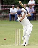 Steve Clark bats for Hampstead during the Middlesex County Cricket League Premier Division  game between Hampstead and North Middlesex at Lymington Road, Hampstead on Sat July 19, 2014