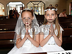 Zuzin Lis and Hanna Dcanska from Donacarney school who recieved first holy communion in the Star of the Sea church Mornington. Photo:Colin Bell/pressphotos.ie